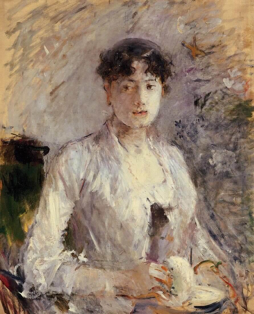 """""""Fiatal nő mályvaszínben"""", szerző: Berthe Morisot"""